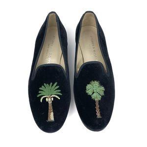 Stubbs & Wootton Black Velvet Palm Tree Loafers